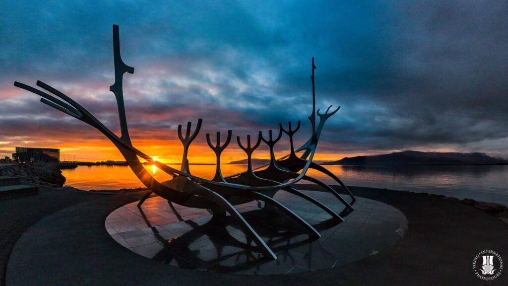 Sunset at the Sun Voyager Reykjavik Iceland