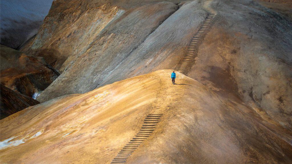 Hiker at Kerlingarfjöll Geothermal Area in Iceland Highlands