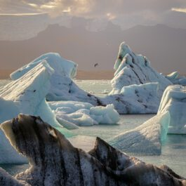 Sunset over floating icebergs in Glacier Lagoon Iceland