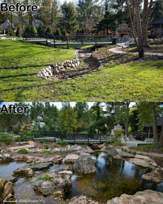 Pond with bridge before and after