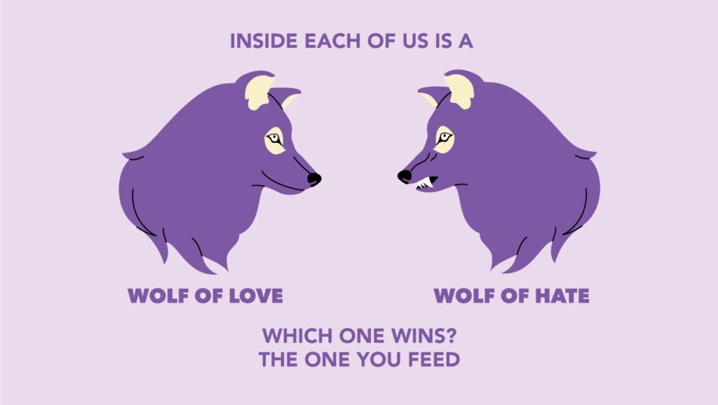 Inside each of us is a wold of love & wolf of hate. Which one wins?