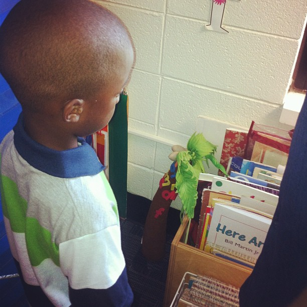 This is JoJo staring at the wall refusing to greet his teacher
