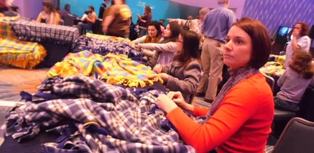 Families come out to make fleece blankets and support a good cause #PercyHeroes