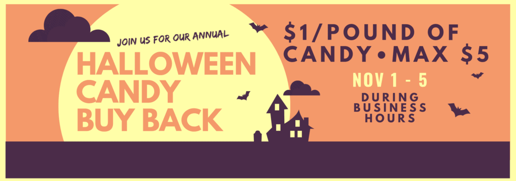 2019 Halloween Candy Buy Back at Foster Dental Care in Blue Springs. Treats for our troops and Cash for you!
