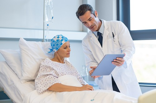 cancer patient with doctor