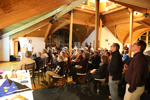 A crowd of about 100 racers at Mystic Yachting Center to hear Dave Perry explain the new racing rules that go into effect on January 1, 20117. The Mudhead Event was co-sponsored by Off Soundings Club.
