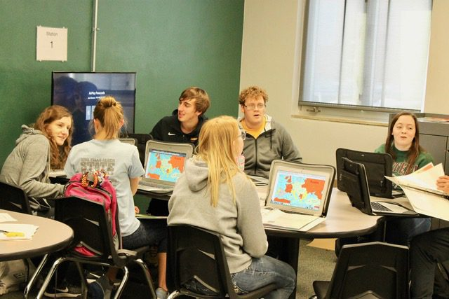 Students engaged in The World War 1 Map Activity