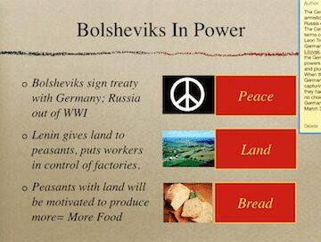 Peace, Land, Bread