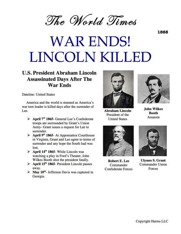World Times 1865 War Ends