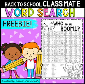 Back to school word search freebie for the first day of school