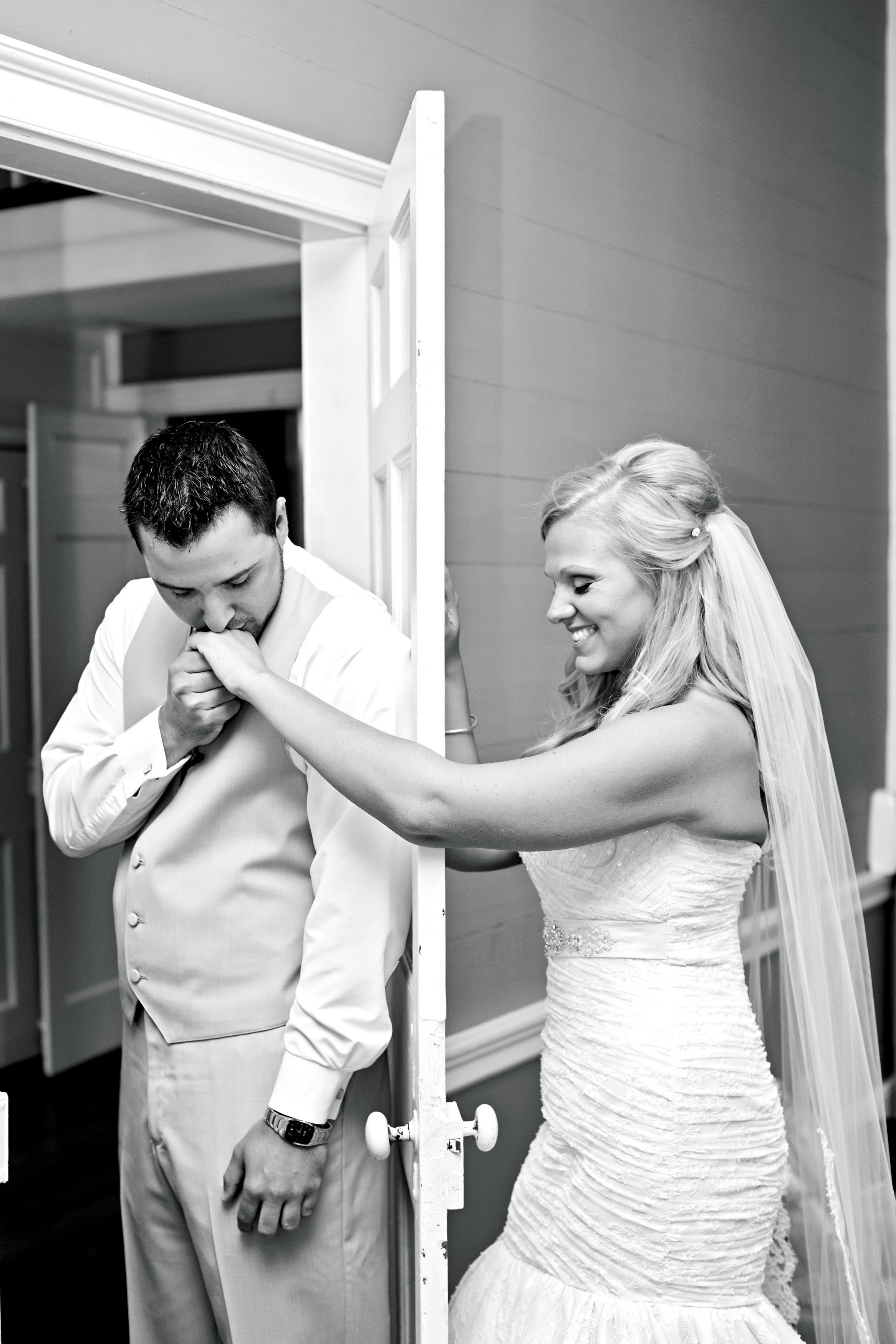 Calming the brides nerves before her walk down the aisle.
