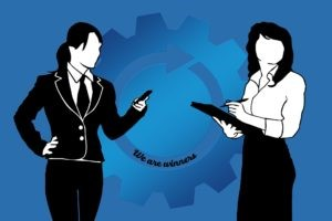 Illustrated images of two business women in black & white on a blue background
