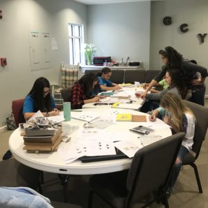 Students focus on their drawing in art class at Learn Together Lowcountry homeschool co-op in Bluffton SC