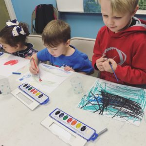 Students paint with watercolors in the Art of Nature class at Learn Together Lowcountry homeschool co-op in Bluffton SC
