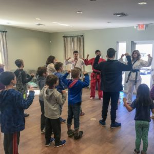 Students strike a pose in the karate workshop at Learn Together Lowcountry homeschool co-op in Bluffton SC