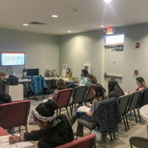 The finance class takes notes during a lecture at Learn Together Lowcountry homeschool co-op in Bluffton SC