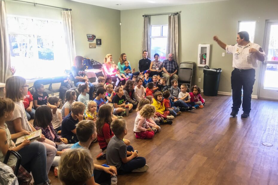 The Burton Fire Department teaches children about safety at Learn Together Lowcountry homeschool co-op in Bluffton SC
