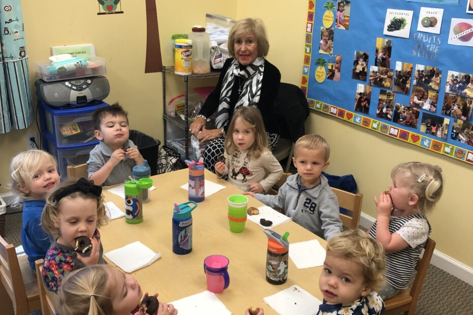The nursery children enjoy a snack around the table at Learn Together Lowcountry homeschool co-op in Bluffton SC