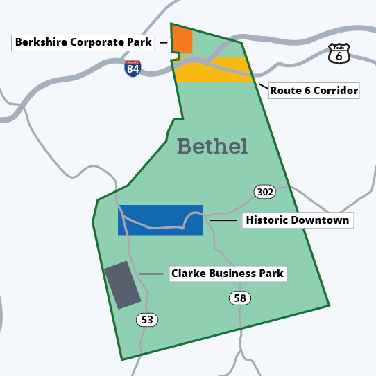 Bethel has four distinct business districts