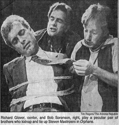 "Steven Mastroieni, Richard Glover and Bob Sorenson in the 1987 production of Lyle Kessler's ""Orphans"" at Actors Theatre of Phoenix. The play was performed in the company's old home in the Metropolitan Bank Building on Central Avenue."