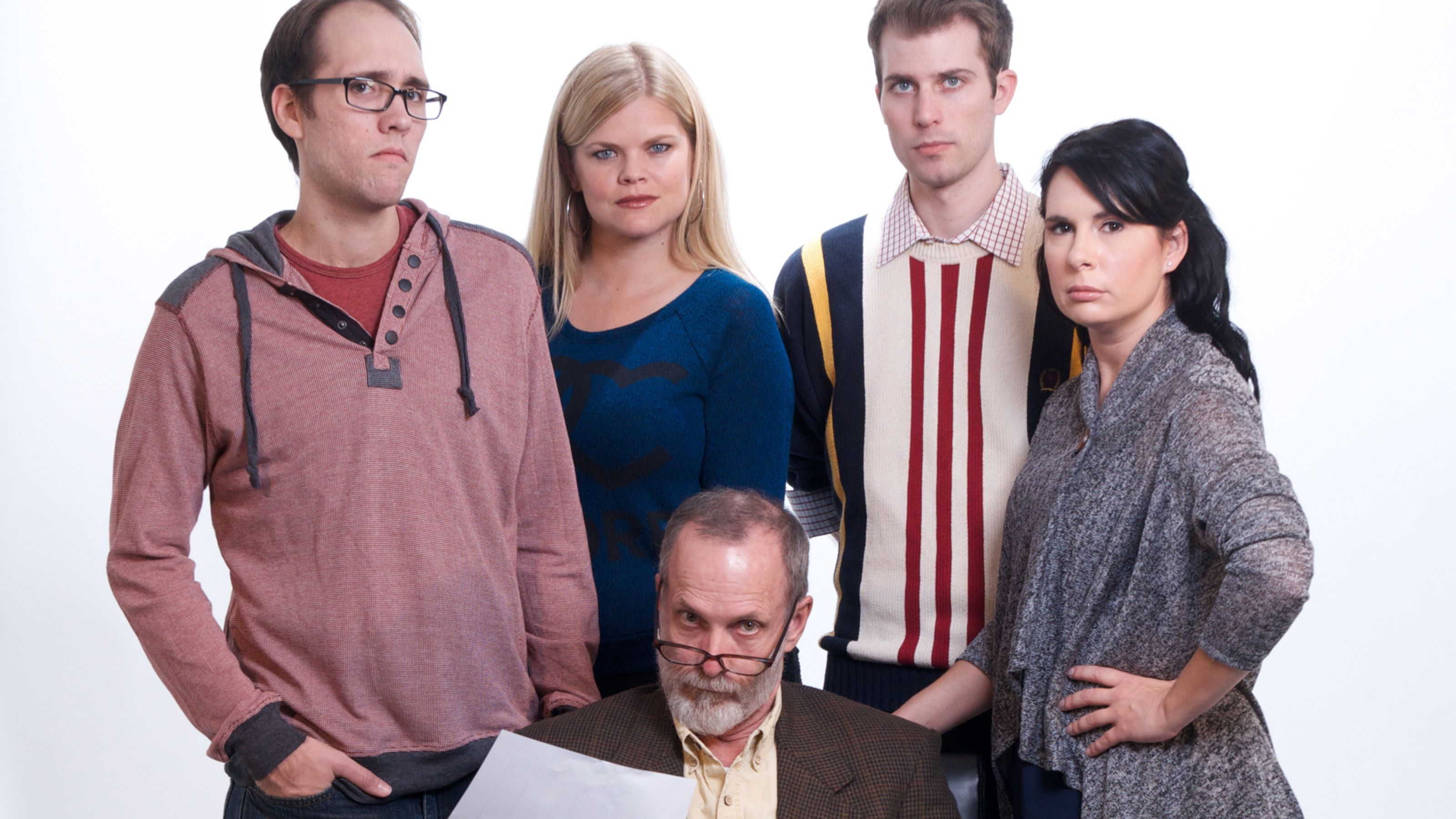 Actors Theatre 2014 Seminar. David Barker (front), Will Hightower, Kim Richard, Andy Cahoon, Kerry McCue. Photo by John Groseclose.