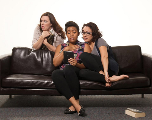 """Maren Maclean (left), Alexis Green and Angelica Howland in """"The Book Club Play."""" (Photo by John Groseclose)"""