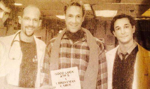 """Actors Theatre, A Christmas Carol, 1997 maybe, Anthony Edwards, Hamilon Mitchell and Noah Wyle send greetings from the set of """"ER."""" (Photo courtesy of Hamilton Mitchell)"""