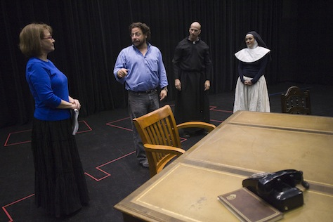 """John Patrick Shanley's """"Doubt"""" opens a new season. Pictured: In the rehearsal hall with director Matthew Wiener (second from left) and actors Patti Davis Suarez (left), Rusty Ferracane and Angelica Howland. (Arizona Republic Photo)"""