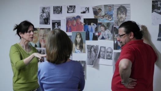 """Actors Theatre, """"Good People,"""" 2013-14 Season. Back stage discussion: Katie McFadzen, Unidentified individual, Matthew Wiener. (Photo, Actors Theatre)"""