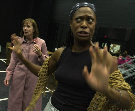 """After the previous year's success, Actors Theatre stages both parts of Tony Kushner's epic """"Angels in America."""" Pictured: In the rehearsal hall with Lillie Richardson (right, as the Angel) and Cathy Dresbach (as Hannah Pitt). (Photo by Cheryl Evans, Arizona Republic)"""