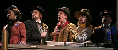 Yolanda London, Mark Anders, Bob Sorenson, Kyle Sorrell and Jon Gentry in Arizona Theatre Company's Around the World in 80 Days. Photo by Tim Fuller/Arizona Theatre Company.
