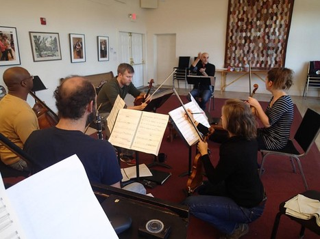 ASU Beyond Rehearsal with composer Kareem Roustom -- Apple Hill String Quartet, pianist Sally Pinkas, clarinetist Kinan Azmeh musicians in 'Playing for Peace' (Photo, Sally Pinkas)