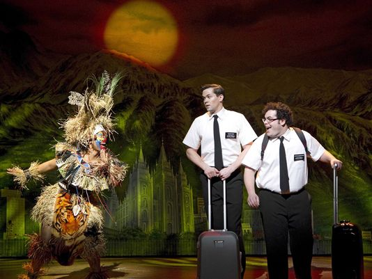"A scene from the acclaimed Broadway hit, ""Book of Mormon."" (Photograph, Joan Markus)"