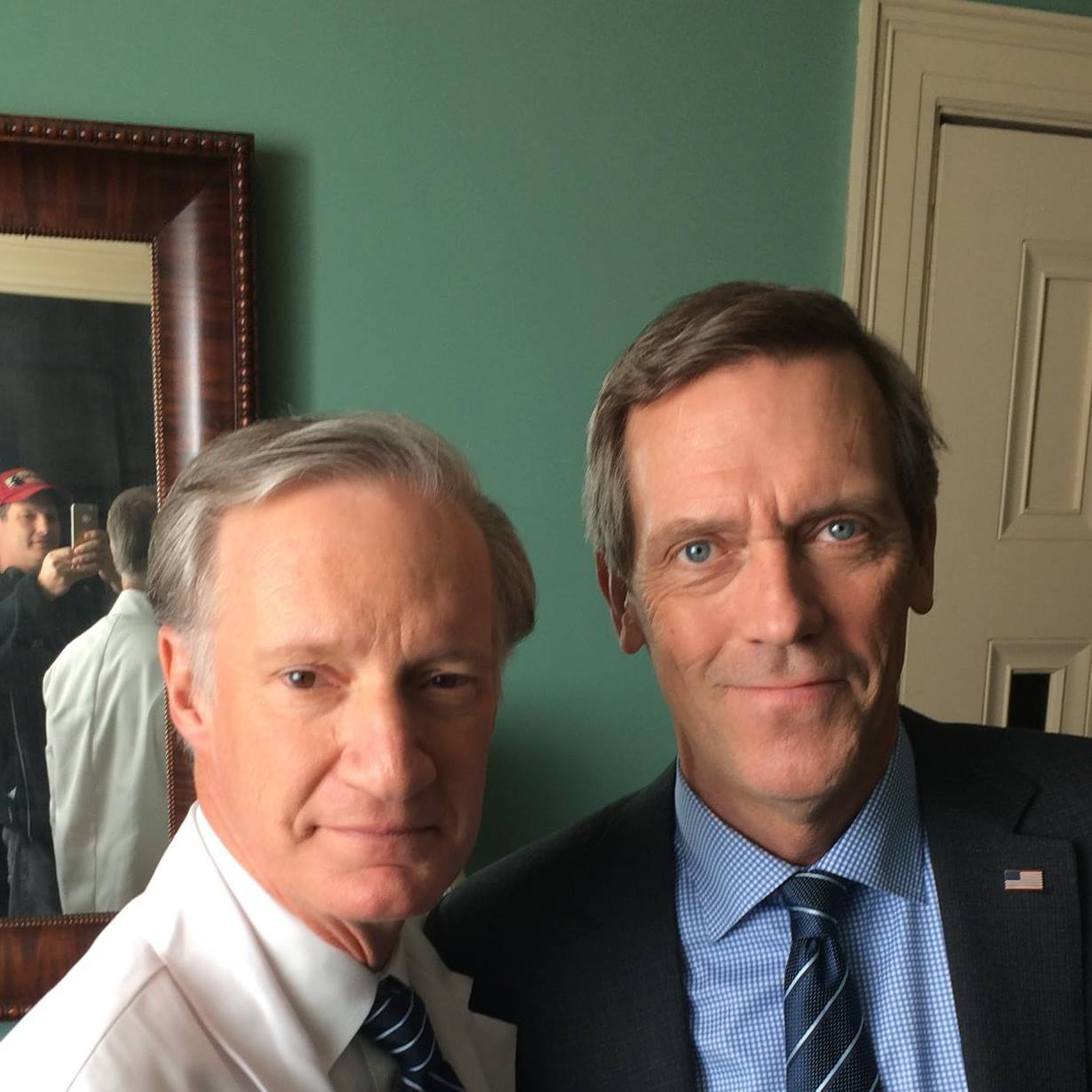 """In December, 2014, Bob worked on """"Veep,"""" playing Julia Dreyfuss' White House doctor. He took a moment to pose with Hugh Laurie (""""House"""") on the set. (Photo from Bob's Facebook page.)"""