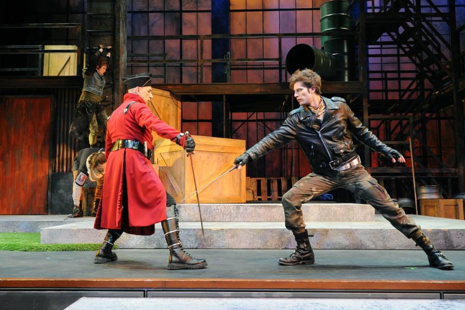 """Andy (right) shows off his fencing skills in Childsplay's production of """"Robin Hood"""" during the 2013-2014 season."""