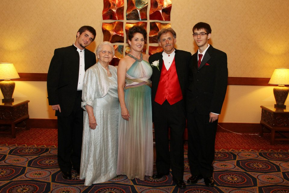 Maria Amorocho and her family at the 2012 Hon Kachina Awards. From left,  her son Jeremiah, her mother, Maria, her husband Earl Weisbrod and her son Elijah. (Photo credit unknown)