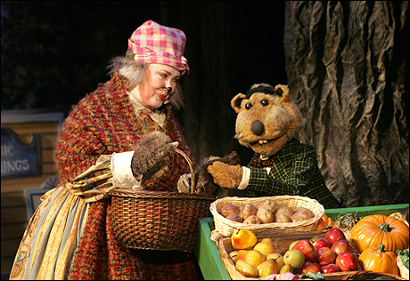 "Kathy as Alice Otter and David Stephens as Yancy Woodchuck in ""Emmet Otter's Jug Band Christmas"" at Goodspeed Opera House."