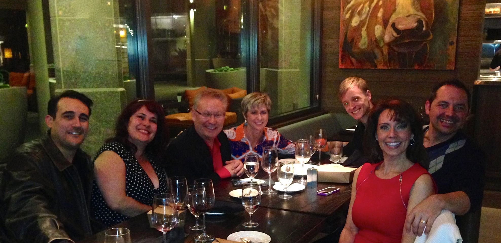 December 2013. Local theater luminaries enjoy each other's company after a show. From left: Joseph Cannon, Johanna Carlisle, Michael Barnard, Molly Lajoie Plutnicki, Sam Hay, Vincent Van Fleet and Debby Rosenthal. And, oh yes, a nosy bovine.