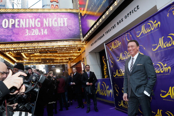 """On one of his rare breaks from performing, Patrick attends the opening night of """"Aladdin"""" on Broadway."""
