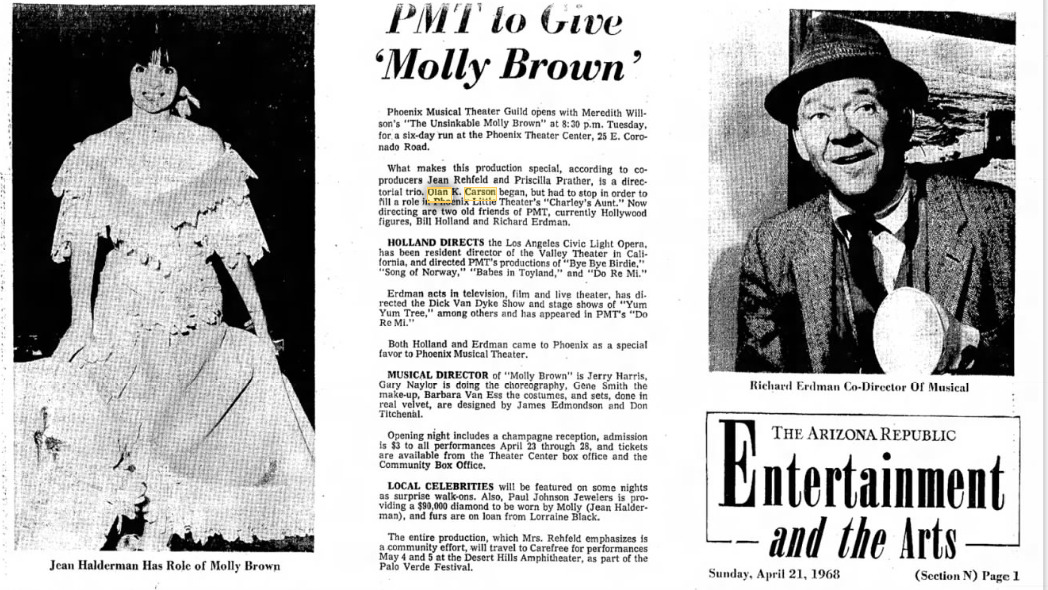 Phoenix Musical Theatre 1968 The Unsinkable Molly Brown 000