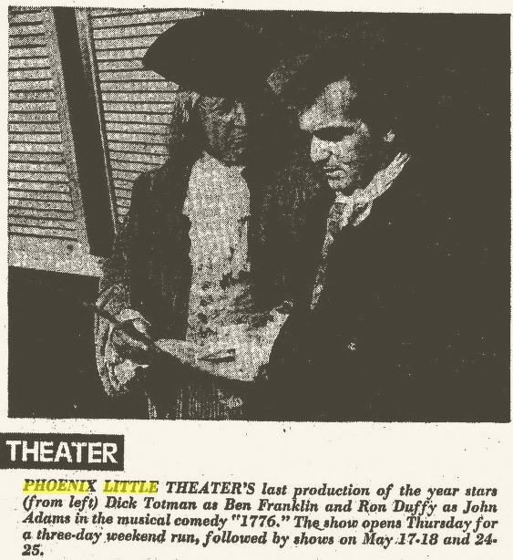 Phoenix Theatre 1776 Arizona Republic, May 5, 1974, Page 211 2014-06-13 11-53-02