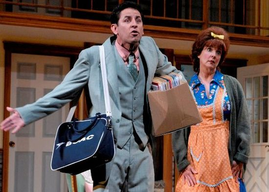 """Christopher Williams and Cathy Dresbach in Phoenix Theatre's 2010 production of """"Noises Off."""" (Photo by Laura Durant)"""