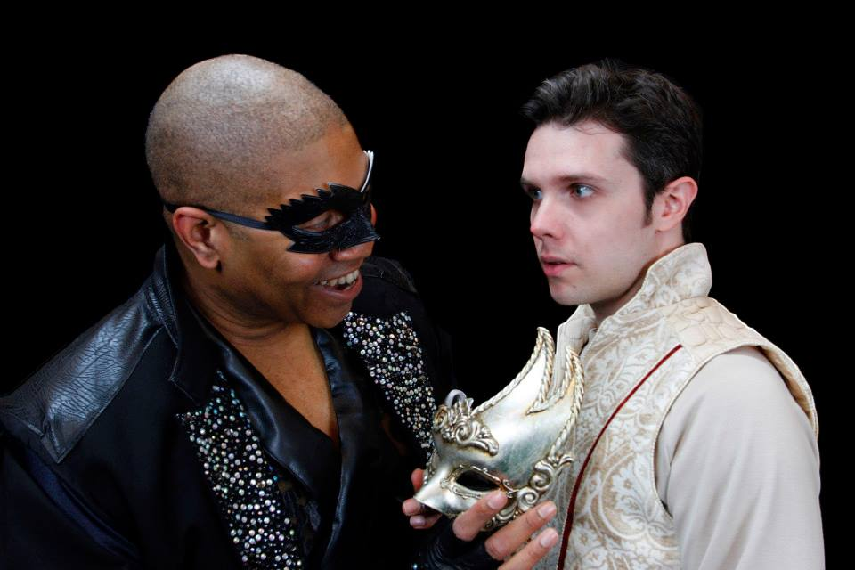 """Paul Oakley Stovall is the Leading Player and Anthony Johnson is the title character in Phoenix Theatre's 2014 production of """"Pippin."""" (Photograph by Sara Chambers.)"""