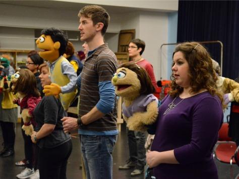 "Toby Yatso & Emily Mulligan-Ferry in rehearsal for ""Avenue Q."""