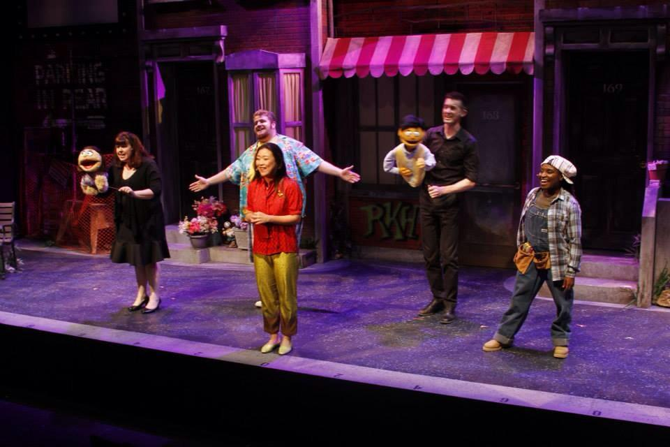 """The cast of Phoenix Theatre's 2014 revival of """"Avenue Q."""" Photographs of this production are by Sara Chambers, Phoenix Theatre."""