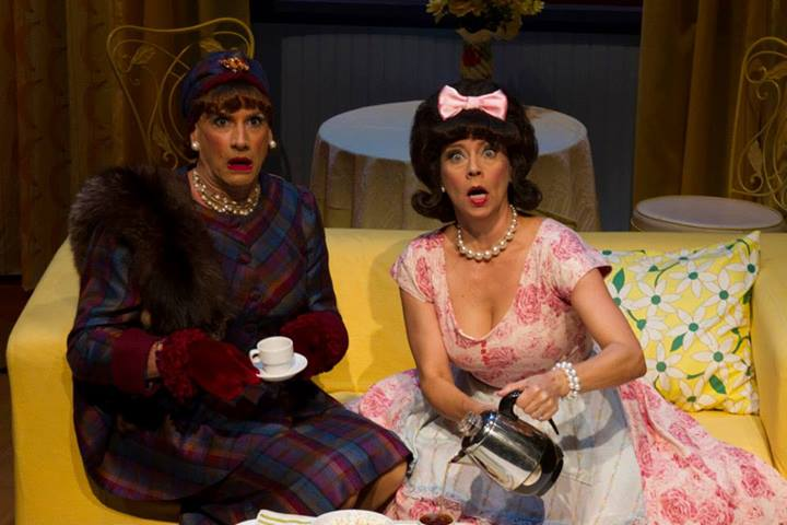"""Rusty Ferracane in drag as Sylvia St. Croix, Tina's manager; and Debby Rosenthal as Tina's mom in """"Ruthless the Musical."""" (Photograph by Sara Chambers.)"""