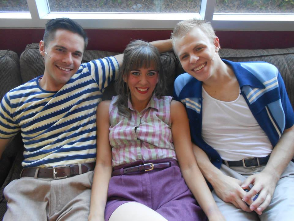 "Hanging out backstage at Phoenix Theatre's 2014 production of ""Memphis"" are cast members Nic Bryan, Lynzee Paul Foreman and Cooper Hallstrom. (Photo from Lynzee's Facebook album)."