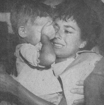 Ruth Roman is reunited with her four-year-old son after the sinking of the Andrea Doria. Others to escape death in the tragedy were Betsy Drake, wife of Cary Grant; songwriter Mike Stoller; and Philadelphia mayor Richardson Dilworth.
