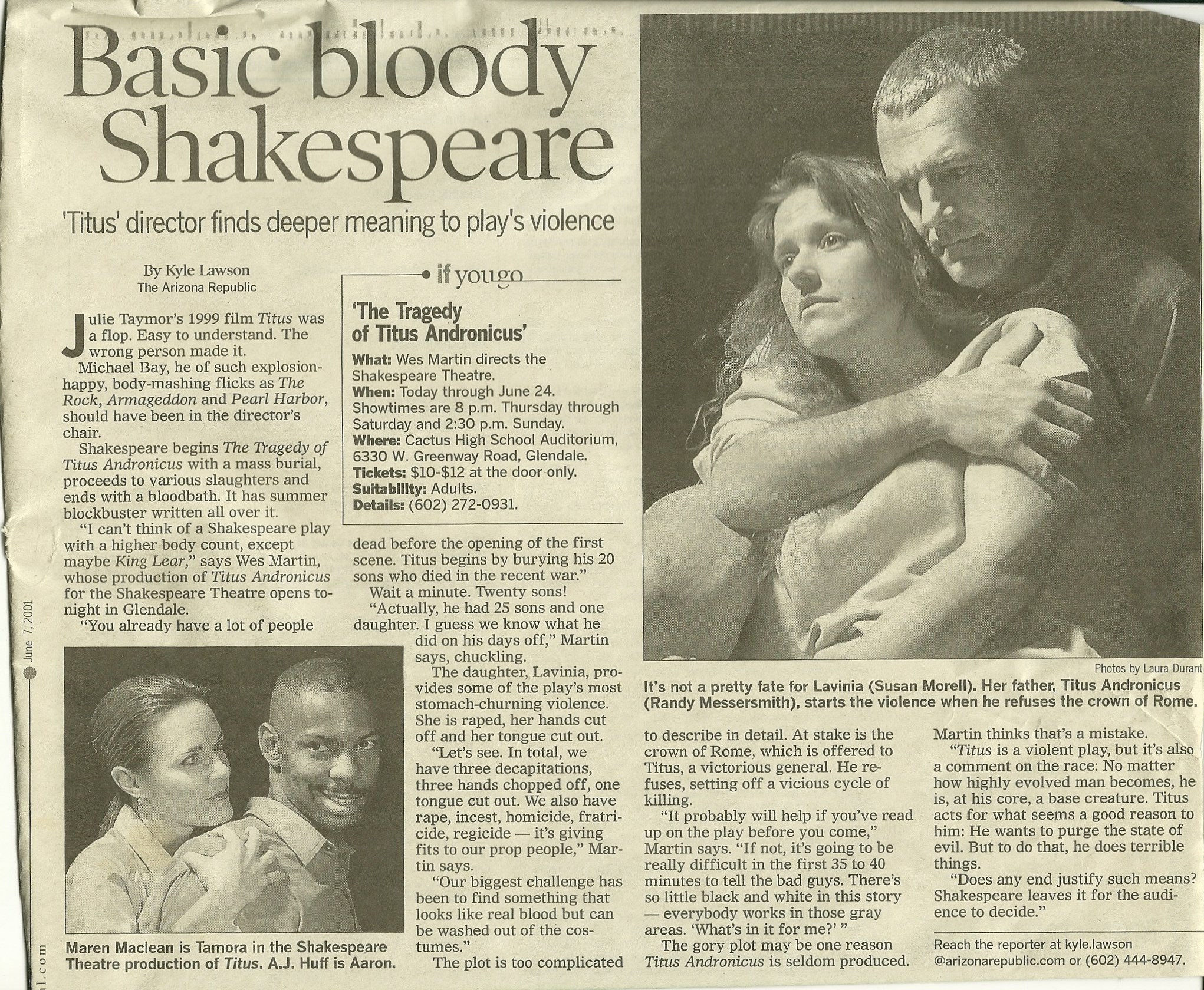 """The Shakespeare Theatre, """"Titus Adronicus,"""" June, 2001. Photos by Laura Durant. Published in The Arizona Republic."""