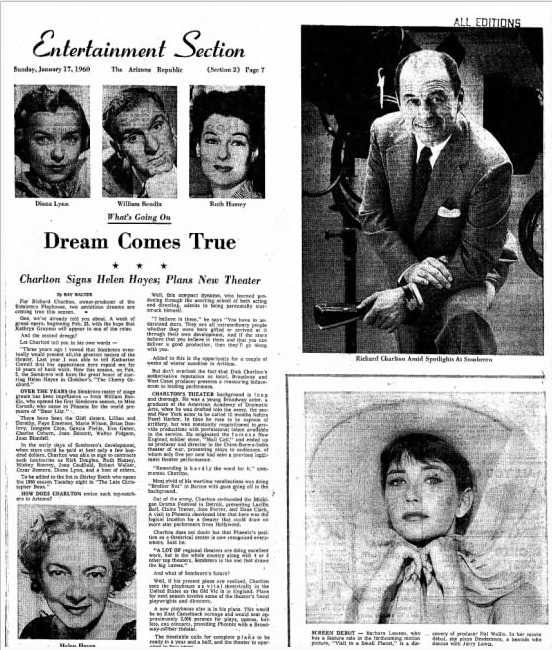 News clipping from the Arizona Republic of Jan. 17, 1960, revealing that a contract had been signed with Helen Hayes, queen of American theater, to appear at the Sombrero Playhouse.